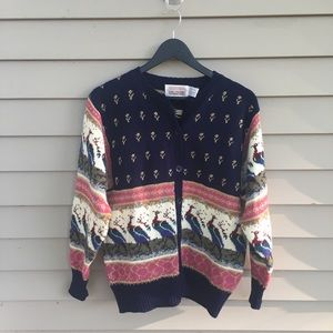 Vintage peacock cardigan sweater kaiwaii fairy M